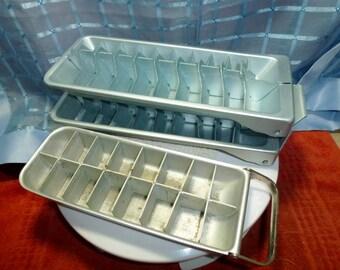 Vintage Metal Ice Cube Trays x 3