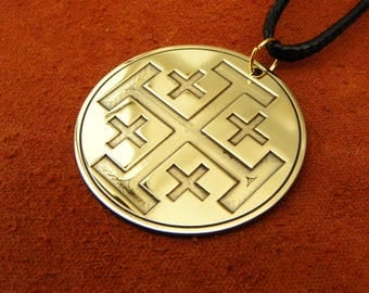 Jerusalem Cross or Crusaders Cross Pewter Pendant, Christian Jewelry