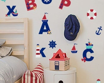 Nursery Alphabet, Alphabet Wall Decal, Upper-Case Alphabet Wall Decal, Alphabet letters decals, Alphabet Nursery, Alphabet vinyl stickers