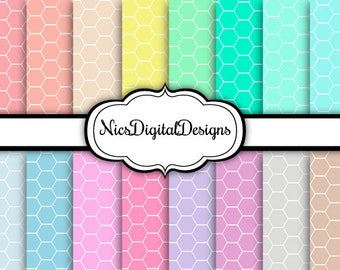 Buy 2 Get 1 Free-16 Digital Papers. Hexagons in Pastel Colours (2D no 1) for Personal Use and Small Commercial Use Scrapbooking