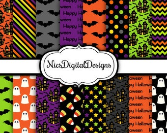 Buy 2 Get 1 Free-16 Digital Papers. Bats and Ghosts for Halloween (1A no 6) for Personal Use and Small Commercial Use Scrapbooking
