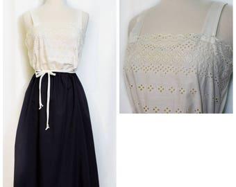 70s White Eyelet/Black Skirt Dress