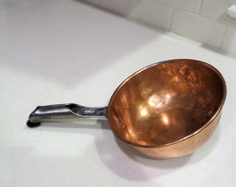 Vintage Saucier Pan Pot Solid Copper with Steel Handle