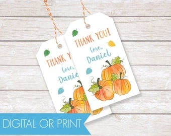 Pumpkin Party Favor Tags, Birthday Thank You Tags, Printable Favor Tags, Printed Favor Tags, Custom Thank You Tags, Personalized Party Tags