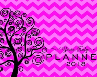 Small horizontal, 8x5 day planner, 2018, dated, weekly, monthly spread, pink chevron, pocket, purse, spiral-bound, opens to 16x5 inches