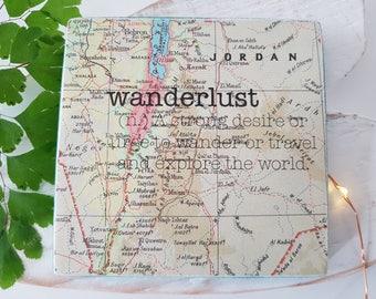 Wanderlust. Handmade Small sign/Coaster. Printed Sign.
