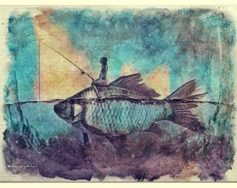 Riding on a fish watercolor painting art print