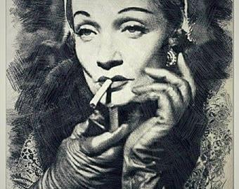 Marlene Dietrich pencil drawing art print