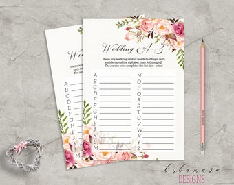 Floral Wedding A to Z Bridal Shower Game Digital Download Bridal Trivia Pink Peonies Printable Flowers Bohemian Bridal Shower Quiz - BG014
