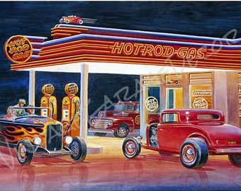 Ford Model A Hot Rod Gas Station - Jack Schmitt Artwork on Metal Sign