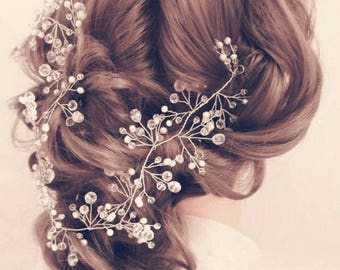 Bridal hair vine Long hair vine headpiece Baby breath Prom hair accessories Crystal Headband hair piece wedding wreath Bridal Fairytale Gift
