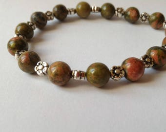 Bracelet Unakite 8 mm, Tibet Silver Flower beads