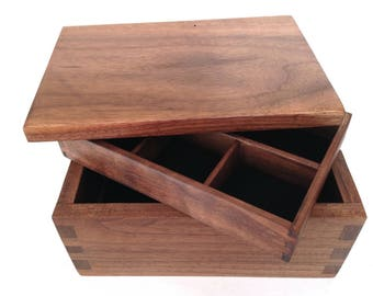 Redmill– shown as walnut jewellery or desk box, can be customised in wood size and interior, traditional in style, handmade, fine wood  box.
