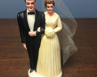 Vintage 1950's Plastic Wedding Cake Topper Figurine Bride and Groom with Tulle Veil (CT #17)