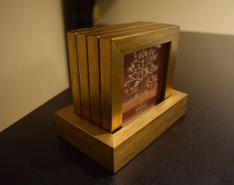 Set of 4 Gorgeous coasters and a holder