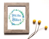 You Are Brave, Brave art gifts, Renewed Daily, Brave wall art decor, sympathy gift, sympathy wall art, wreath wall art,