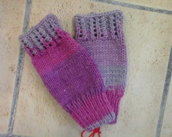 Lace wool pink mittens