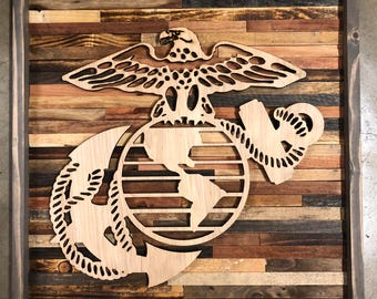 Rustic United States marines wall art