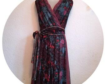 Vintage 70's Geraldine Sid Green Black Floral dress size 10