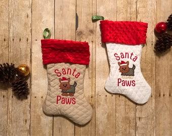 Monogrammed Pet Christmas Stocking, Personalized Dog Stocking, Yorkie Dog Stocking, Customized Dog Stocking, Rescue Dog Stocking, Pet XMAS