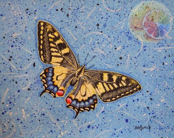 """Butterfly Painting, Machaon Butterfly, Butterfly Art, 11""""x14"""", Realism Butterfly Art, Original Painting On Watercolor Paper, Home Wall Art"""