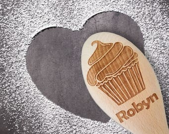 Personalized Spoon - Hostess Gift - Wooden Kitchen Utensils - Cupcake - Wooden Spoon - Cooking Spoon - Personalized Gift - Baking Gifts