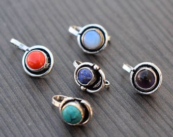 5 Pcs Gemstone nose stud | Coral turquoise amethyst Alexi Fire lapis nose stud | Handmade jewelry nose stud | Round nose stud jewelry | NS3