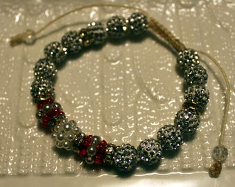 Beautiful Czech crystal disco-ball rhinestone beaded bracelet in white & red; shamballa, handmade, beadweaving, casual wear, party wear