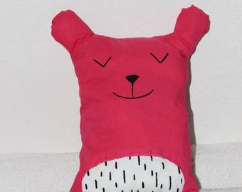 plush teddy bear cushion fuchsia pink baby, child