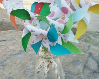 Paper Pinwheels - Confetti Rainbow Theme (Set of 8)