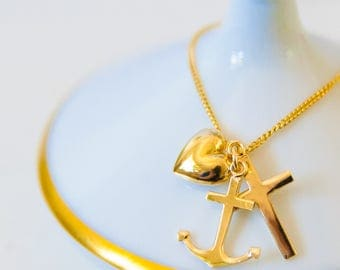 Gold plated hope love faith necklace