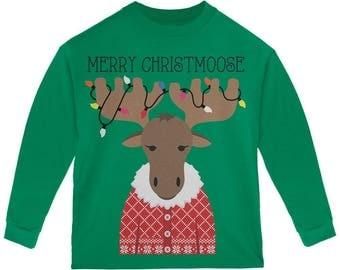 Christmas Merry ChristMoose Moose Toddler Long Sleeve T Shirt