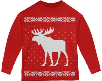 Big Moose Ugly Christmas Sweater Red Toddler Long Sleeve T-Shirt