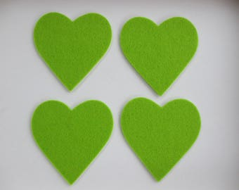 4 felt Laser-cut Stickers heart, lime green.