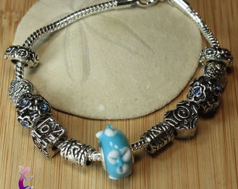 European style with blue and white murano glass beads and metal charms PAND36