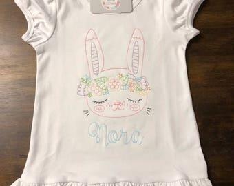 Vintage Floral Bunny Monogrammed Shirt // Floral Easter Shirt // Easter Monogrammed Shirt // Easter Onesie Bodysuit // Easter Bunny Shirt