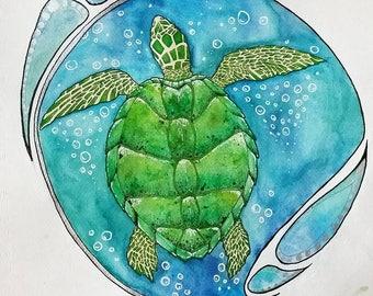 Green Turtle Watercolor Print