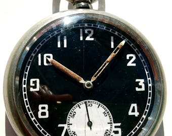 WW2 British military issue pilot's black dial pocket watch.