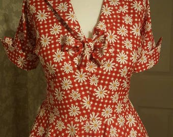 Handmade gingham red floral vintage style circle dress