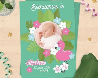 Birth announcement personalized (girl or boy) - pink Flamingo and tropical Collection