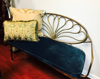 Solid Brass Scallop Back Mid-Century Loveseat Settee Bench
