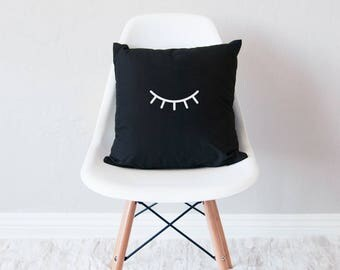 Black throw pillow with insert / minimal home decor / eyes closed design cushion /