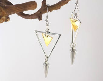 Silver Golden Triangles Earrings Silver Cone