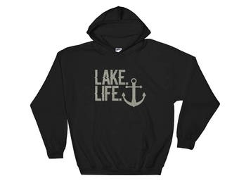 Lake Life Nautical Theemed Hoodie with Anchor - Lake Life Sweatshirt