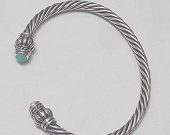 Vintage Sterling Silver and Turquoise Wire Cuff Bracelet