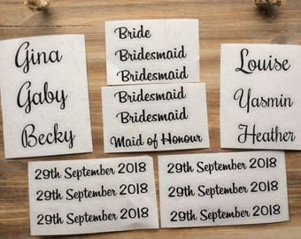 Wedding Hanger Decals 1x Name/Date/Role Personalised Vinyl Lettering for Bride Bridal Party