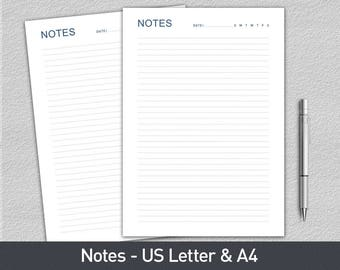 Notes Page - Planner Page Refills Printable, Printable Notepaper, Filofax Printable, Planner Inserts, Printable Notes, Letter & A4