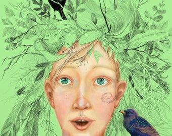 The Spring. Bird children. Print on canvas Digital Art