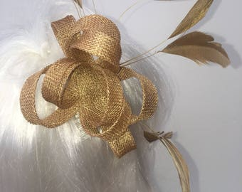 Gold Fascinator Hair Comb, small and simple, wedding fascinator