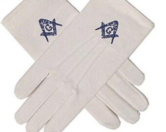 Prince Hall Affiliated Freemason Blue Compasses Gloves